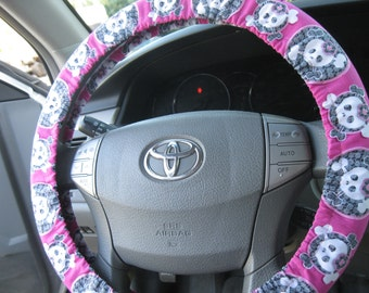 Filtered Skulls and Crossbones and Bows * Steering Wheel Cover * Dia de Los Muertos  *  Day of the Dead
