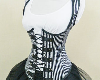 "Military Steampunk Black White Pirate Circus Stripe Corset-to fit 23-25"" natural waist"