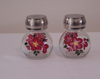 Hand Painted Glass Salt and Pepper Shakers with Red Flowers