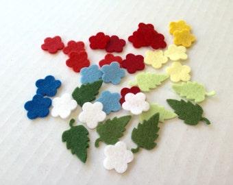Felt Flower Assortment, tiny wool felt blossoms and leaves