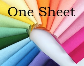 Wool Felt, One Sheet, Choice of Two Sizes, Merino Wool Felt, Single Sheet, Sampler Sheet, Choose Any Color, Craft Felt, Doll Making Supply