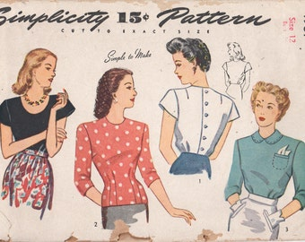 1940s Simplicity 4987 Misses Hip Length Button Back Blouse Pattern Day Evening Neckline Options Womens Vintage Sewing Size 12 Bust 30