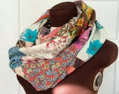 Recycled Patchwork Infinity Scarf, vintage cotton, hippie boho