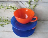 Vintage Fire King cOBALT oRANGE Primary Colored Anchor Hocking Rainbow glass dishes