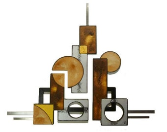 Geometrics in motion handmade wall sculpture. 3 piece Wood and Metal Wall hangings-unique wall decor, wall art, home and office decor by DAS