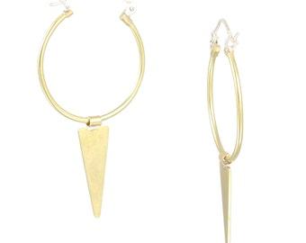 Mod Brass Hoop Wire Hinge Earrings with Free-Flowing Triangle