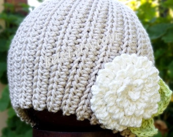 Crochet baby hat pattern for baby with large flower and leaves beanie for girls cute pretty photography prop toddler baby pattern