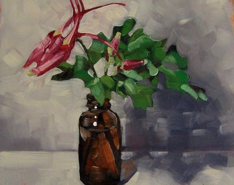 "Oil Painting, Botanical Art, Still Life of Pink Columbines in Glass Jar, Miniature Painting, Floral Painting - ""Two Times a Columbine"""