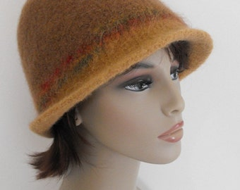 Wool Felted  Hat Hand Knit Cloche for Women