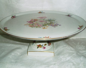 French Hand Painted Porcelain Pedestal Cake Stand w/ Square Base, A W C Fondee en 1789, Shabby French Country Chic Footed Cake Dish, Platter