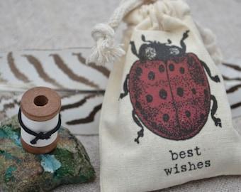 Blank Message Spool with Ladybug Gift Bag