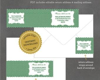 INSTANT DOWNLOAD Printable Address Label, Green Chevron Address Label