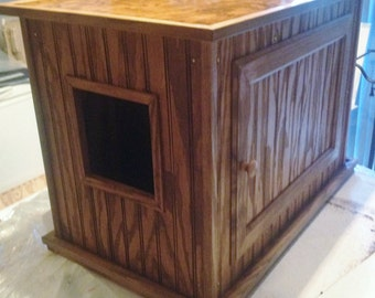 Large Kat Litter Kabinet - 14 Finishes - Litter & Odor Control - 100% Wood - Dog and Child Proof - Plant or TV Stand, Bench