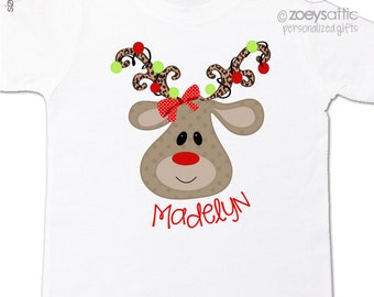 Christmas personalized shirt girl adorable personalized animal print reindeer perfect for 1st Christmas day bodysuit or Tshirt