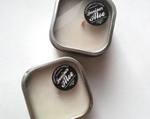 Juniper Aloe PURE SOY CANDLE - 4oz Tin with Window Lid - undyed natural white