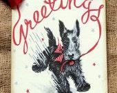 Retro Black Scottie Dog Christmas Greetings Tags #116