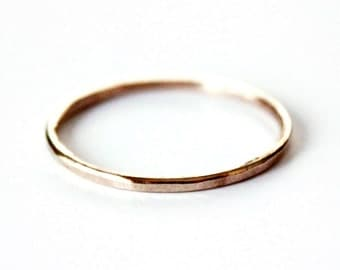 14K Goldfill Ring - Thin Hammered Gold Ring Band - Sterling Silver - Stacker Ring - Unisex - Gold and Silver Wedding Band - Promise Ring