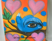 Happy Bluebird with a magic eye and four of hearts