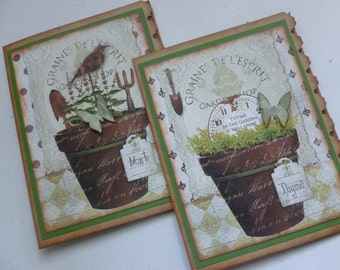Thank you notes garden themed greeting cards stationery vintage style herb pots gift for gardener stocking stuffer  - set of 4