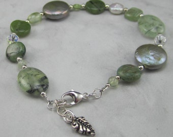 Soft Green Pearl, Kyanite, Canadian Jade and Silver Bracelet - Sale!