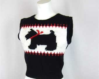 Vintage Hand Knitted Scotty Dog Wool Vest, Sz S