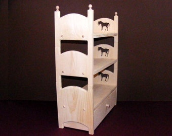 """Triple Doll Bunk Bed with Trundle and Horses 18"""" American Girl Doll Furniture Gift for Girl Gift for Daughter Gift for Niece Birthday Gift"""