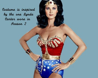 Full Wonder Woman Costume:  Corset, Tiara, Cuffs, Belt, Lasso, Choice Briefs or Shorts or Skirt (WITH cape)...