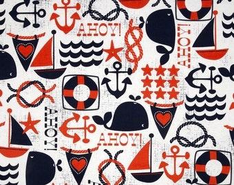 Nautical Shower Curtain, Boy's Shower Curtain, Orange Navy Shower Curtain, Boy's Bathroom Decor, Mariner Bathroom, Custom Shower Curtain