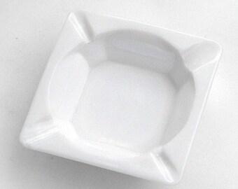 Grape Relief Milk Glass Square Ashtray Vintage White