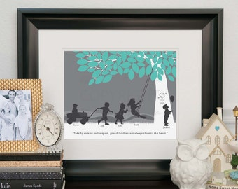 Gift for Grandparents, Personalized Silhouette Print with Nana and Grandpa's grandchildren // You Choose Print Size & Type // H-F05-1PS HH9