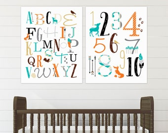 ABC and 123 Woodland Art, Forest Nursery Decor, Rustic Woodland Nursery, Baby Shower Gift ideas // Art Print or Canvas // N-XW17-2PS AA1