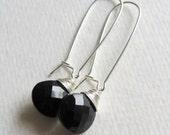 Black Spinel Kidney Dangle Earrings - Wire Wrapped Silver Jewelry - Simple Earrings