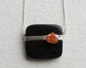 Tiger Ebony Wood and Orange Carnelian Gemstone Necklace - Wooden Jewelry - Handmade Jewelry - Sterling Silver Necklace - Gift for Her