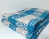 Handwoven Blue and White Picnic Towel