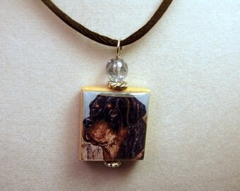 ROTTWEILER Jewelry / Rottie SCRABBLE Pendant / Handmade Unusual Gifts / Necklace with Satin Cord