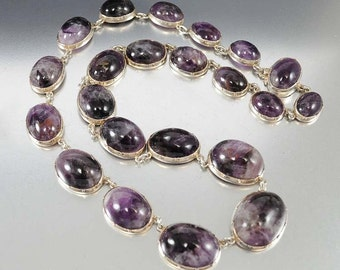 Victorian Amethyst Necklace, Sterling Silver Necklace, Antique Jewelry, Raw Amethyst Necklace, Edwardian Crystal Necklace, Victorian Jewelry