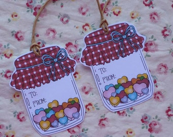TO FROM - Set of 4 jar-shaped gift tags
