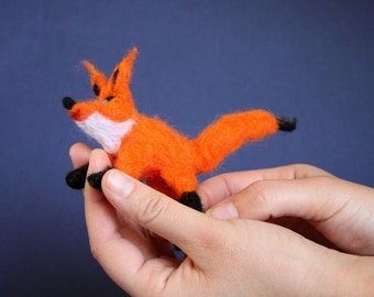 Waldorf Needle Felted Fox, Woodland soft sculpture, posable toy, Steiner toy, orange and black, forest, boho decor, fox totem, baby shower