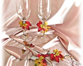 Fall leaves weddings cake knife set and champagne glasses, fall wedding accessories
