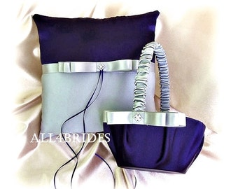 Navy blue and silver grey weddings ring pillow and flower girl basket, sating ring cushion and basket set.