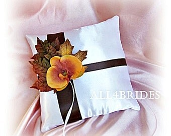 Fall leaves wedding pillow, ring bearer pillow, chocolate brown and burnt orange orchid weddings decorations.