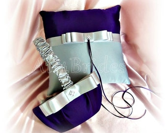 Wedding ring pillow and basket, deep purple and grey wedding colors, ring bearer cushion and flower girl weddings ceremony decor