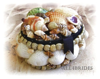 Seashell wedding ring box, beach wedding ring holder ceremony accessories.