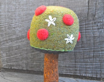 Baby's Needle Felted Wool Apple Tree Rattle Ready to Ship