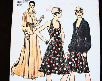 1970s Halter Dress Pattern UNCUT Misses size 8 Womens Maxi Halter Dress with Jacket Vintage Sewing Pattern 70