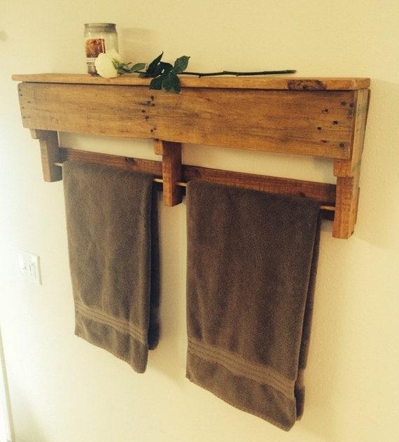 items similar to recycled wood pallet towel rack shelf. Black Bedroom Furniture Sets. Home Design Ideas