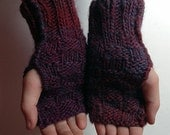 Fall Colors Hand Knitted Warm Basket Weave Fingerless Gloves