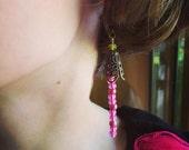 Pink and Green Beaded Filigree Earrings
