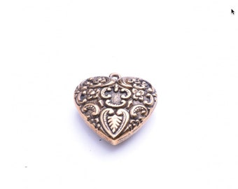 24mm heart charm, gold plated and antiqued, 09821AG