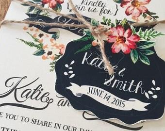 Printable files: Boho Floral Weeding Invitation. Floral wedding invitation. Ruatic wedding.